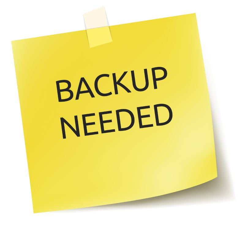 Post it con scritta backup